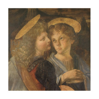 Baptism of Christ Angels by Leonardo da Vinci Wood Print