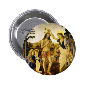 Baptism of Christ by Da Vinci and Verrocchio Pinback Button