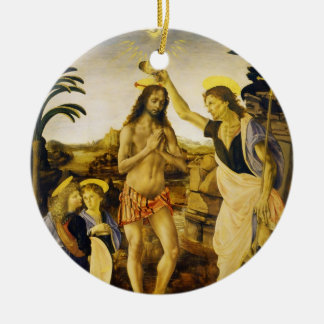 Baptism of Christ by Da Vinci and Verrocchio Ceramic Ornament