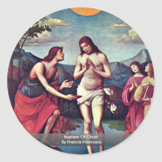 Baptism Of Christ By Francia Francesco Classic Round Sticker