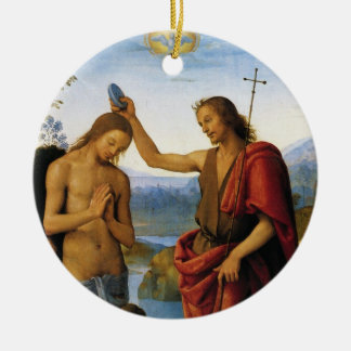 Baptism of Christ by Pietro Perugino Ceramic Ornament
