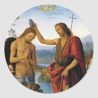 Baptism of Christ by Pietro Perugino Round Sticker