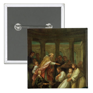 Baptism of St. Augustine 2 Inch Square Button