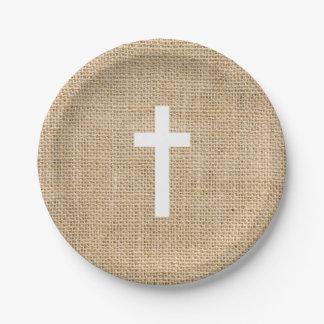 Baptism Paper Plates White Cross Rustic Burlap