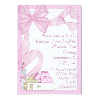 Baptism Pink Bow Invitation