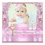 "Baptism Pink Cross Girl Photo Christening Shoes 5.25"" Square Invitation Card"