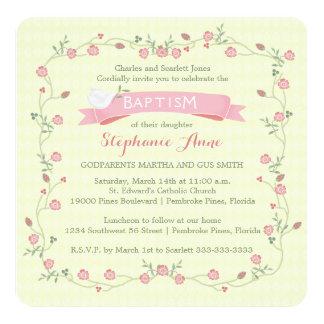 Baptism Pink Floral Wreath Card