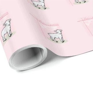 Baptism, Pink, Girl, Lamb Wrapping Paper