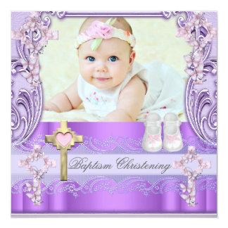 "Baptism Pink Purple Cross Girl Photo Christening 5.25"" Square Invitation Card"