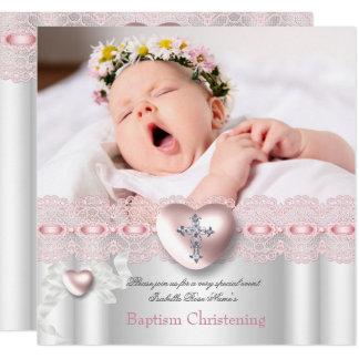 Baptism Pink Silver Photo Heart Cross Girl Card