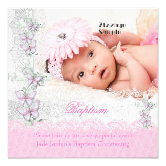 """Baptism Pink White Lace Photo Butterfly Cross Girl 5.25"""" Square Invitation Card"""