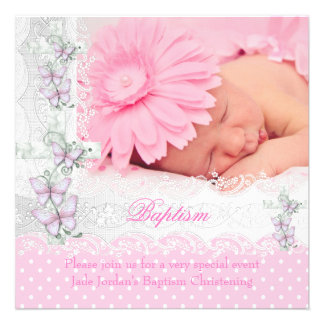 Baptism Pink White Lace Photo Butterfly Cross Girl Invitation