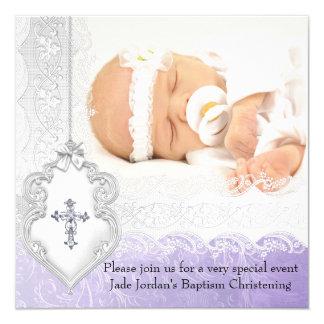 "Baptism Purple White Lace Photo Jewel Cross Girl 5.25"" Square Invitation Card"