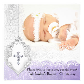 Baptism Purple White Lace Photo Jewel Cross Girl Card