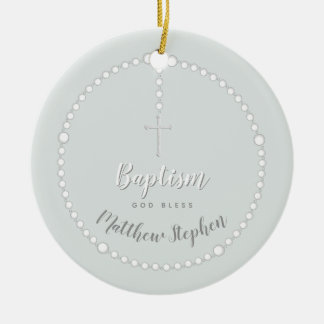 Baptism Rosary on Powdered Blue Ceramic Ornament