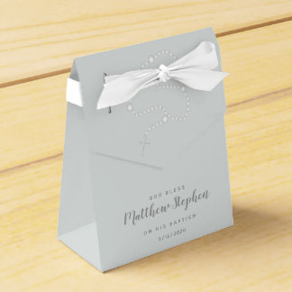 Baptism Rosary on Powdered Blue Favor Box