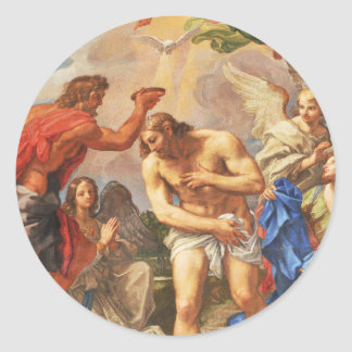 Baptism scene in San Pietro basilica, Vatican Classic Round Sticker