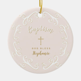 Baptism Scrolls in Pink and Gold Ceramic Ornament