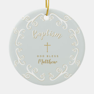 Baptism Scrolls in Powder Blue and Gold Ceramic Ornament