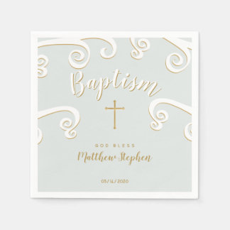 Baptism Scrolls in Powder Blue and Gold Paper Napkin