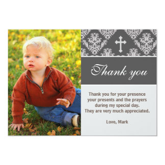 Baptism Thank You Note Christening Grey Photo Card