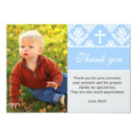 "Baptism Thank You Note Custom Photo Card Blue 5"" X 7"" Invitation Card"