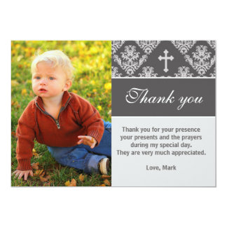 "Baptism Thank You Note Custom Photo Card Grey 5"" X 7"" Invitation Card"