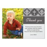 "Baptism Thank You Note Custom Photo Card Grey 5"" X 7"" Invitation Card"