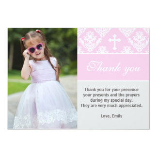 "Baptism Thank You Note Custom Photo Card Pink 5"" X 7"" Invitation Card"