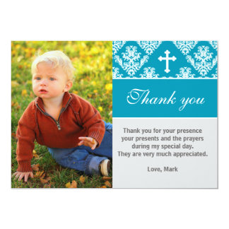 "Baptism Thank You Note Custom Photo Card Teal 5"" X 7"" Invitation Card"
