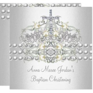 Baptism Tiara Silver White Pearl Diamond Card