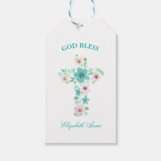 Baptism Watercolor Pink and Teal Flower Cross Pack Of Gift Tags