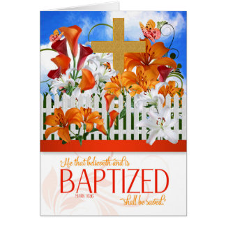 Baptism Wishes Mark 16 Bible Scripture with Cross Card
