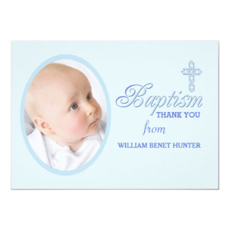 "Baptism Word Blue Photo Thank You Notecard 5"" X 7"" Invitation Card"