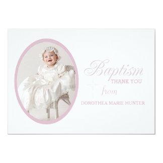 "Baptism Word Pink Photo Thank You Notecard 5"" X 7"" Invitation Card"
