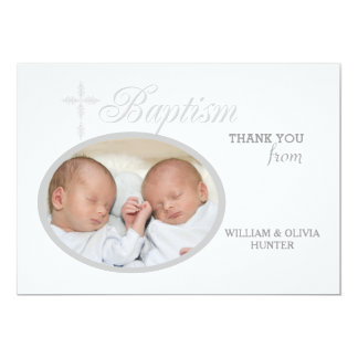 Baptism Word Silver Photo Thank You Notecard #2