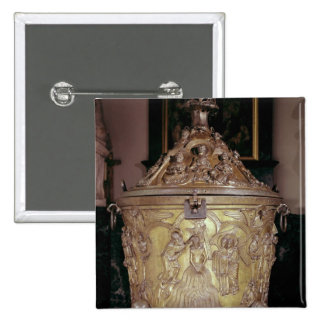 Baptismal font showing 2 inch square button