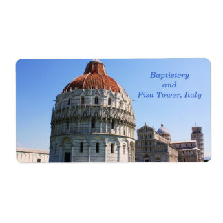 Baptistery and Pisa Tower Shipping Label