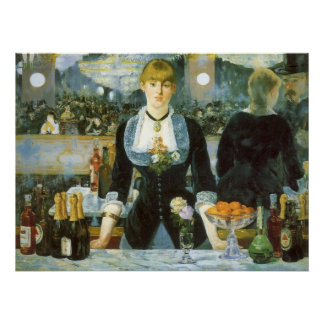 Bar at the Folies Bergere by Manet, Vintage Art Poster