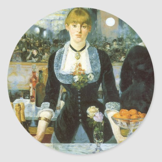 Bar at the Folies Bergere by Manet, Vintage Art Round Sticker