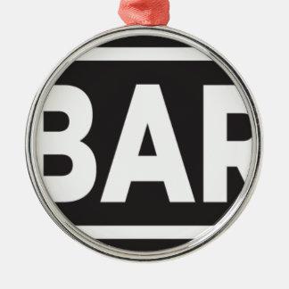 Bar Bar Bar Silver-Colored Round Ornament