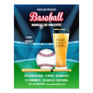 Bar Baseball Event Promo Menu add photo and logo
