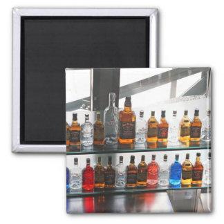 Bar bottles square magnet
