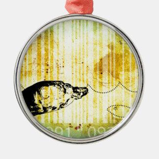Bar Code Art Design Vector Fun Color Silver-Colored Round Ornament