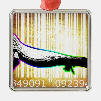 Bar Code Art Design Vector Fun Color Silver-Colored Square Ornament