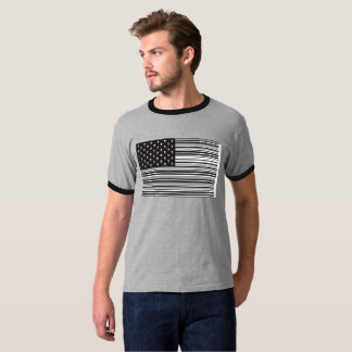 Bar Code Skull American flag T-Shirt