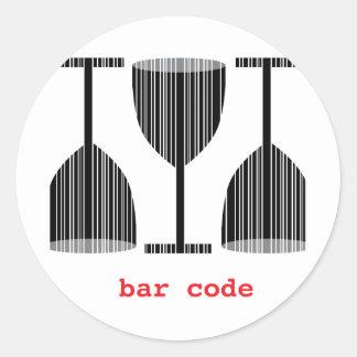 Bar Code Wine Glass Classic Round Sticker