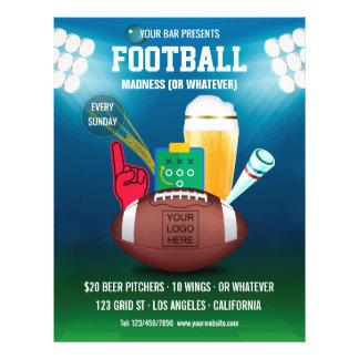 Bar Football Event Promo Menu add photo and logo