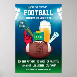 Bar Football Event Promotional add logo Poster