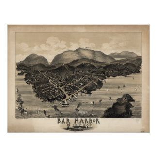 Bar Harbor Maine 1886 Antique Panoramic Map Poster